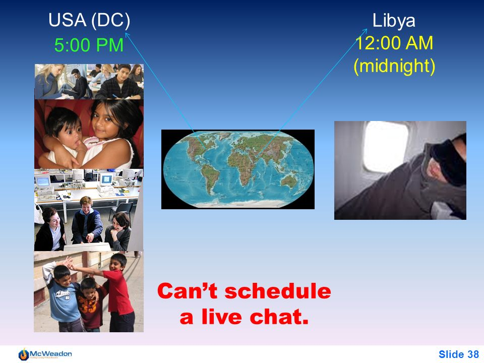Slide 38 Libya 12:00 AM (midnight) USA (DC) 5:00 PM Cant schedule a live chat.