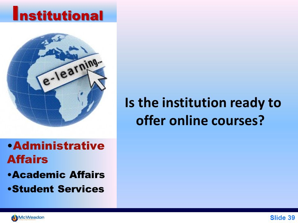 Slide 39 I nstitutional Administrative Affairs Academic Affairs Student Services Is the institution ready to offer online courses?