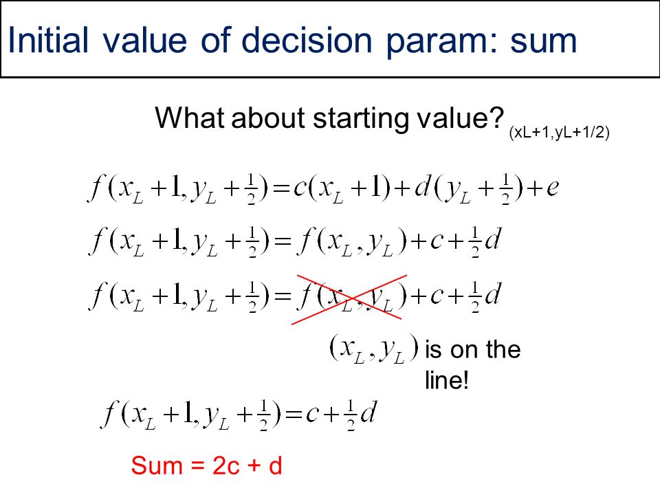 Initial value of decision param: sum What about starting value? (xL+1,yL+1/2) is on the line! Sum = 2c + d