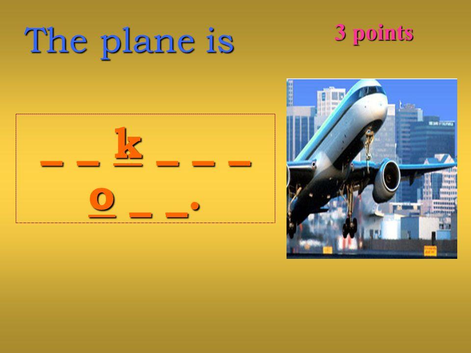 The plane is _ _ k _ _ __ _ k _ _ _o _ _.o _ _._ _ k _ _ __ _ k _ _ _o _ _.o _ _. 3 points