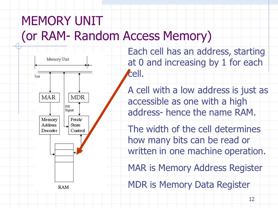 12 MEMORY UNIT (or RAM- Random Access Memory) Each cell has an address, starting at 0 and increasing by 1 for each cell. A cell with a low address is