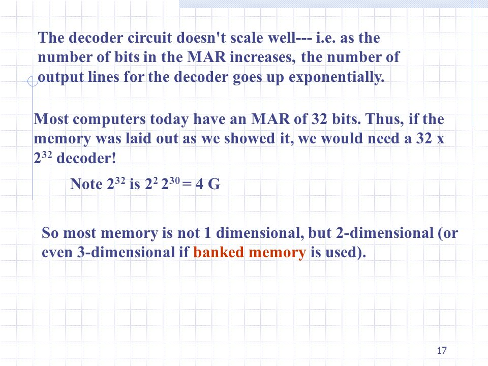 17 The decoder circuit doesn't scale well--- i.e. as the number of bits in the MAR increases, the number of output lines for the decoder goes up expon
