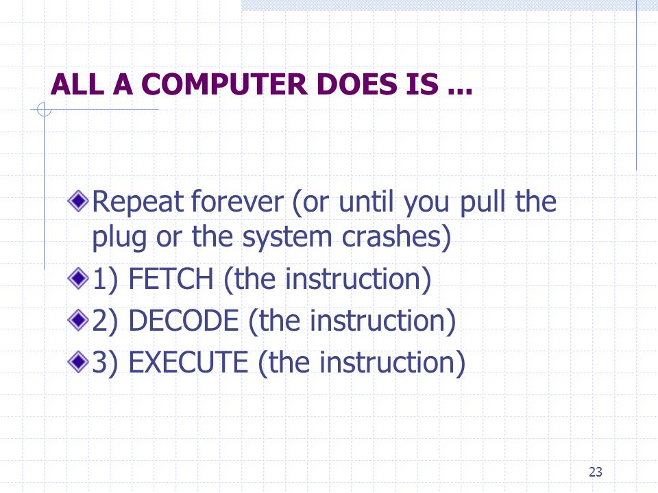 23 ALL A COMPUTER DOES IS... Repeat forever (or until you pull the plug or the system crashes) 1) FETCH (the instruction) 2) DECODE (the instruction)