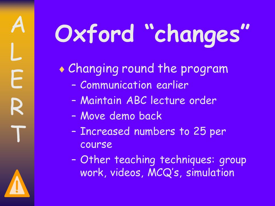 ALERTALERT ! Oxford changes Changing round the program –Communication earlier –Maintain ABC lecture order –Move demo back –Increased numbers to 25 per