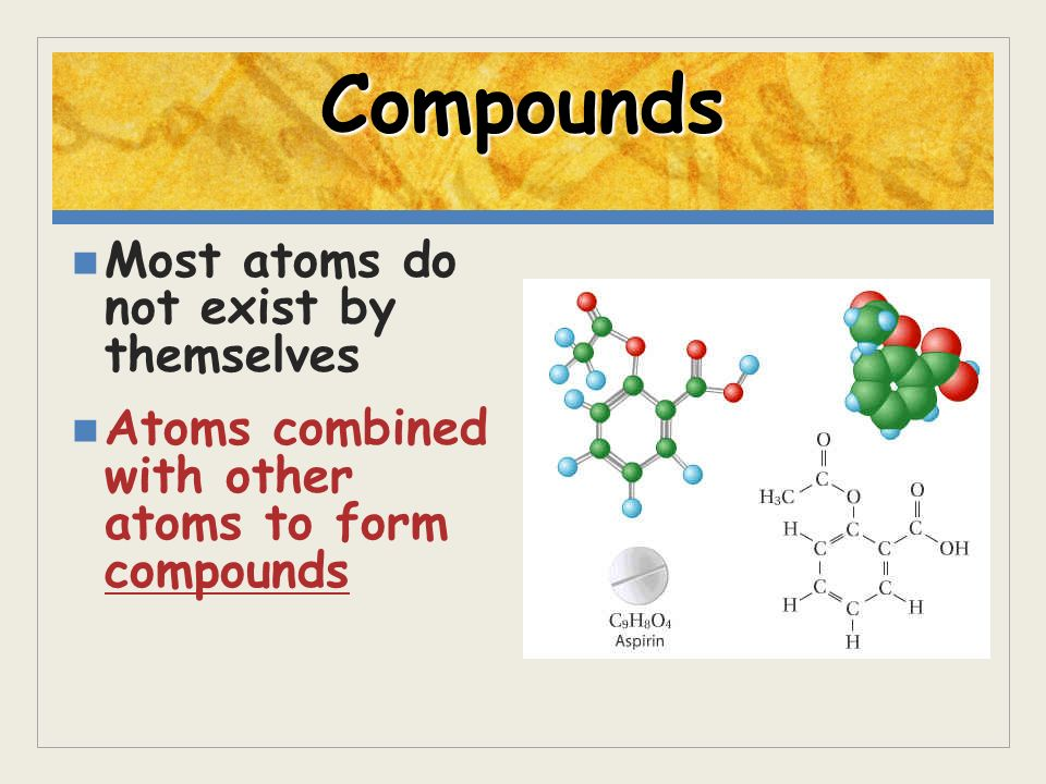 Compounds Most atoms do not exist by themselves Atoms combined with other atoms to form compounds