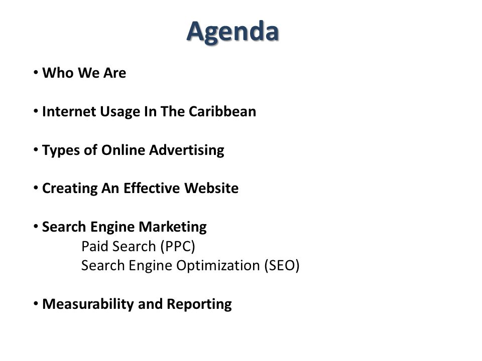 Agenda Who We Are Internet Usage In The Caribbean Types of Online Advertising Creating An Effective Website Search Engine Marketing Paid Search (PPC)