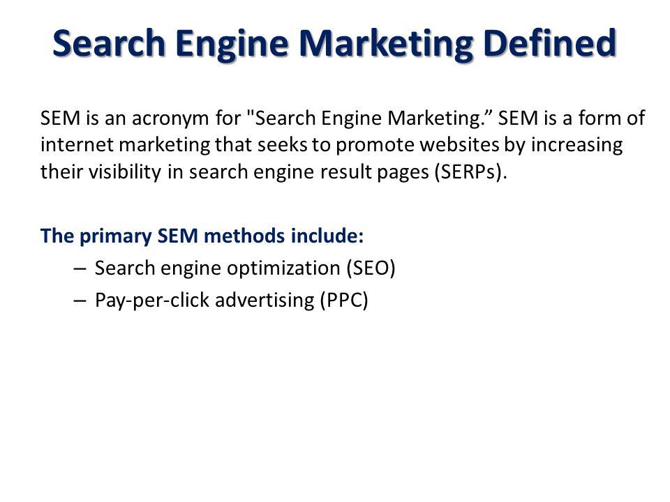 SEM is an acronym for