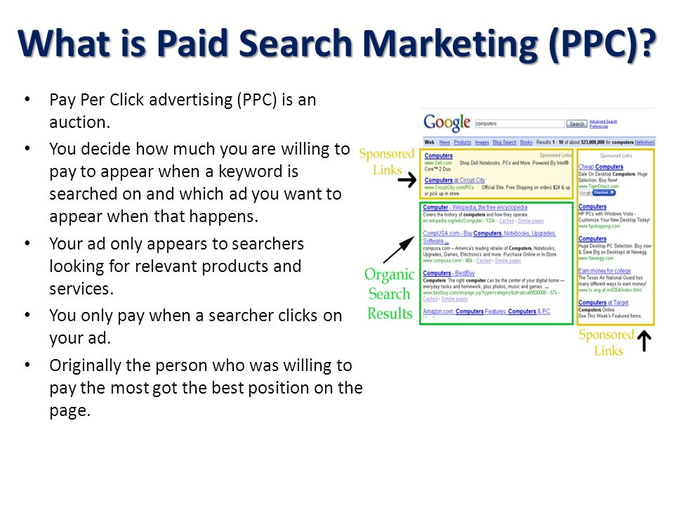 What is Paid Search Marketing (PPC)? Pay Per Click advertising (PPC) is an auction. You decide how much you are willing to pay to appear when a keywor
