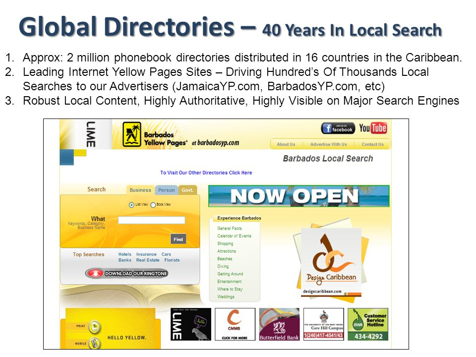 Global Directories – 40 Years In Local Search 1.Approx: 2 million phonebook directories distributed in 16 countries in the Caribbean. 2.Leading Intern