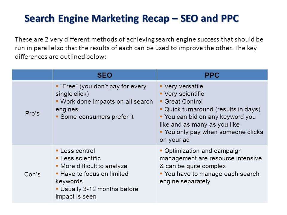 Search Engine Marketing Recap – SEO and PPC These are 2 very different methods of achieving search engine success that should be run in parallel so th