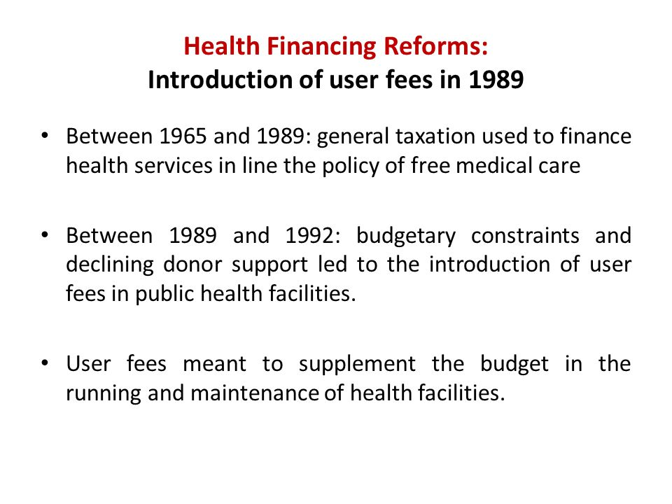 Health Financing Reforms: Kenya Health Policy Framework 1994 - The Cabinet approved the Kenya Health Policy Framework The framework outlined Government health policies and priorities in the next century.