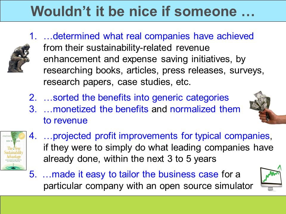 Wouldnt it be nice if someone … 1.…determined what real companies have achieved from their sustainability-related revenue enhancement and expense savi