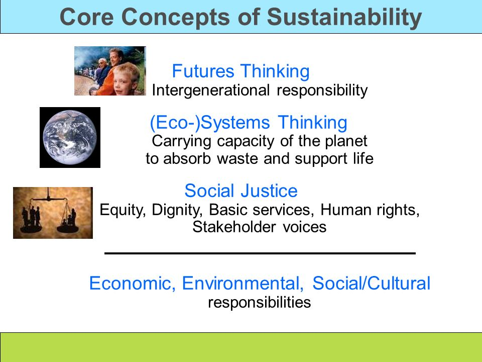 Core Concepts of Sustainability Futures Thinking Intergenerational responsibility (Eco-)Systems Thinking Carrying capacity of the planet to absorb was