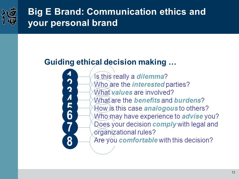 13 1 Big E Brand: Communication ethics and your personal brand Guiding ethical decision making … 2345678 Is this really a dilemma? Who are the interes
