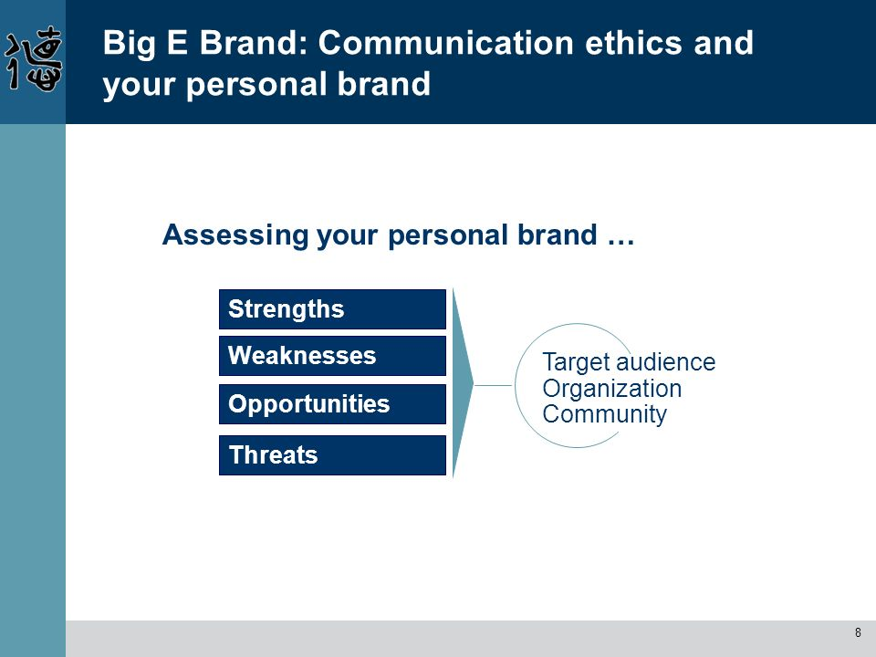 8 Big E Brand: Communication ethics and your personal brand Strengths Assessing your personal brand … Weaknesses Opportunities Threats Target audience