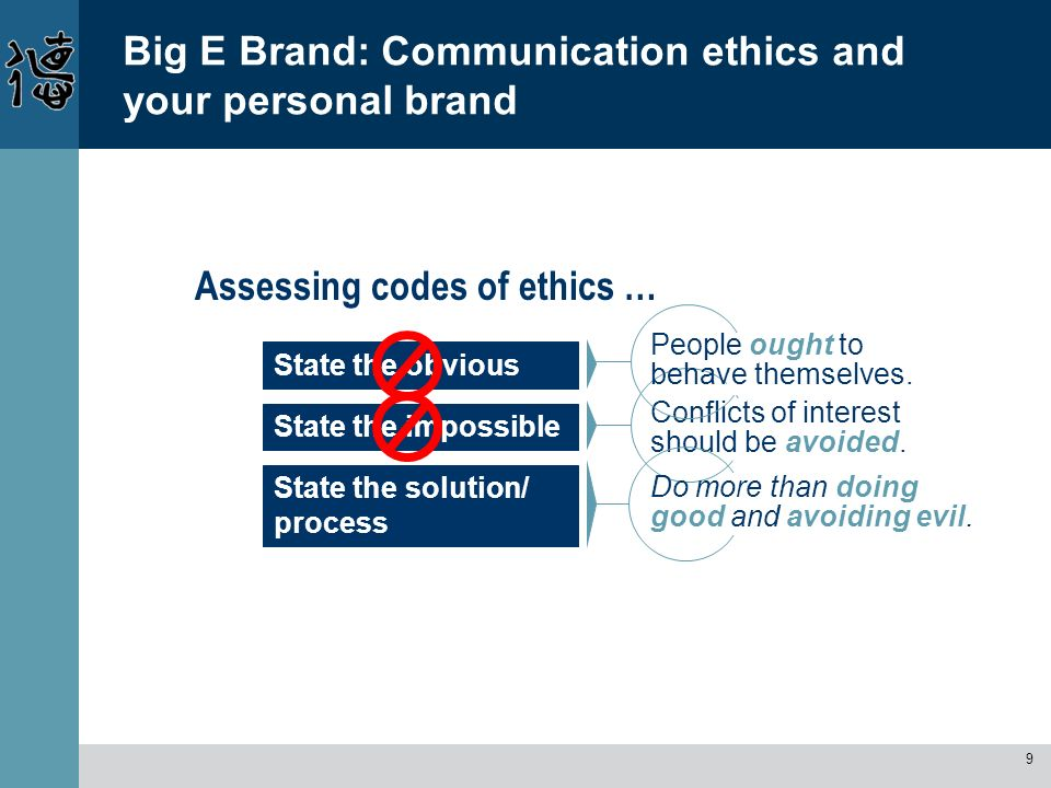 9 Big E Brand: Communication ethics and your personal brand Assessing codes of ethics … State the solution/ process State the obvious State the imposs
