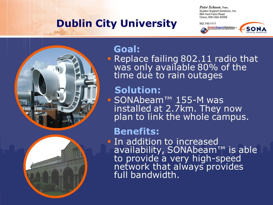 Dublin City University Replace failing 802.11 radio that was only available 80% of the time due to rain outages SONAbeam 155-M was installed at 2.7km.