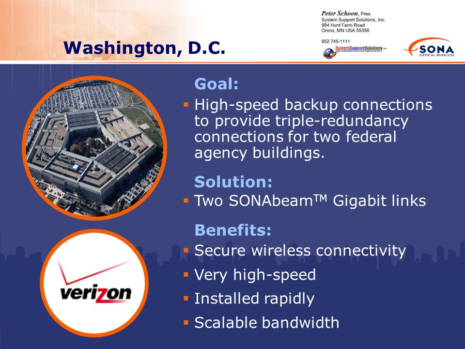Washington, D.C. Solution: Two SONAbeam TM Gigabit links Benefits: Secure wireless connectivity Very high-speed Installed rapidly Scalable bandwidth G