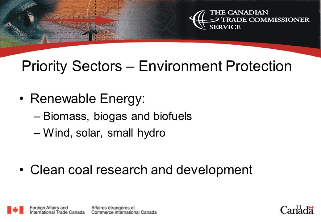 11 Priority Sectors – Environment Protection Renewable Energy: –Biomass, biogas and biofuels –Wind, solar, small hydro Clean coal research and development