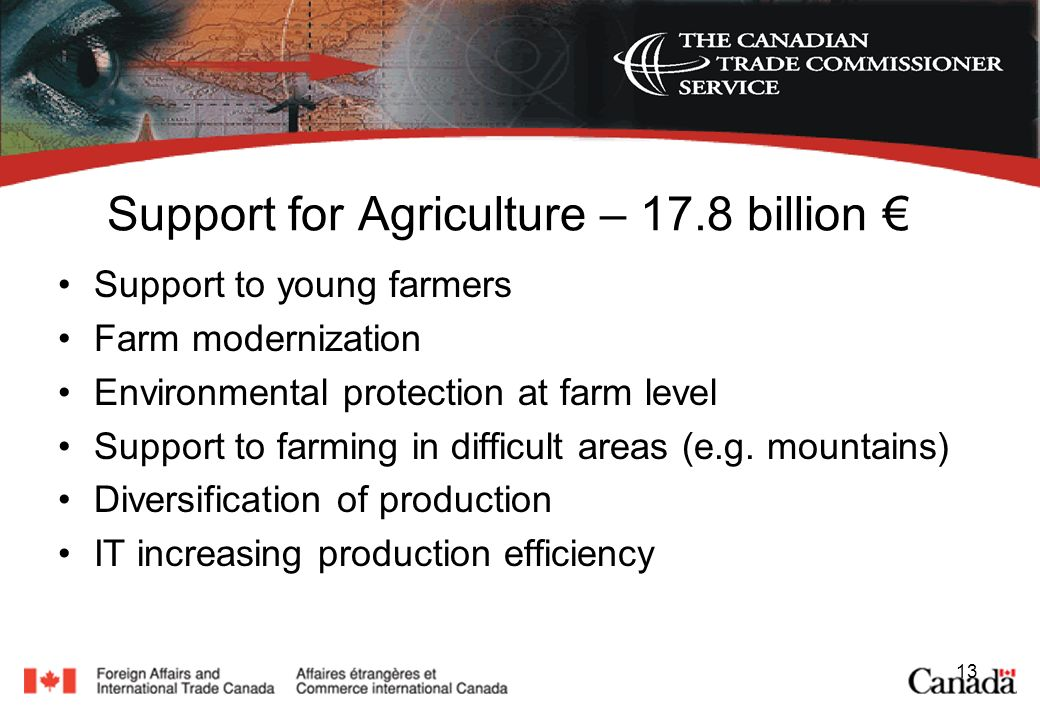 13 Support for Agriculture – 17.8 billion Support to young farmers Farm modernization Environmental protection at farm level Support to farming in difficult areas (e.g.