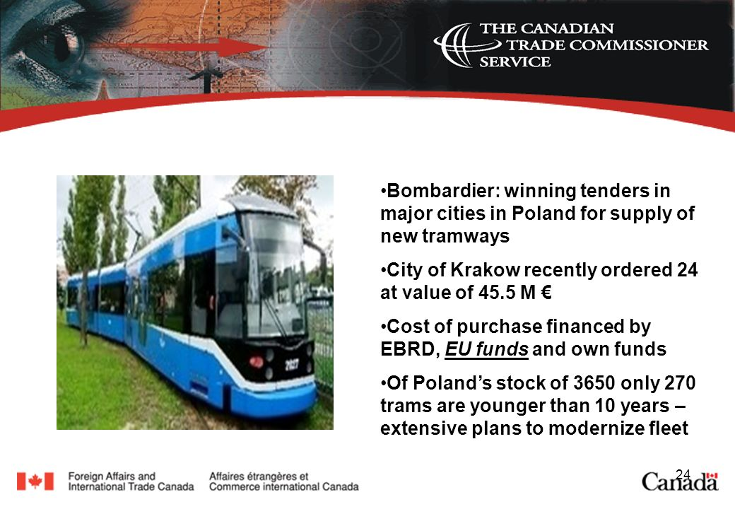 24 Bombardier: winning tenders in major cities in Poland for supply of new tramways City of Krakow recently ordered 24 at value of 45.5 M Cost of purchase financed by EBRD, EU funds and own funds Of Polands stock of 3650 only 270 trams are younger than 10 years – extensive plans to modernize fleet