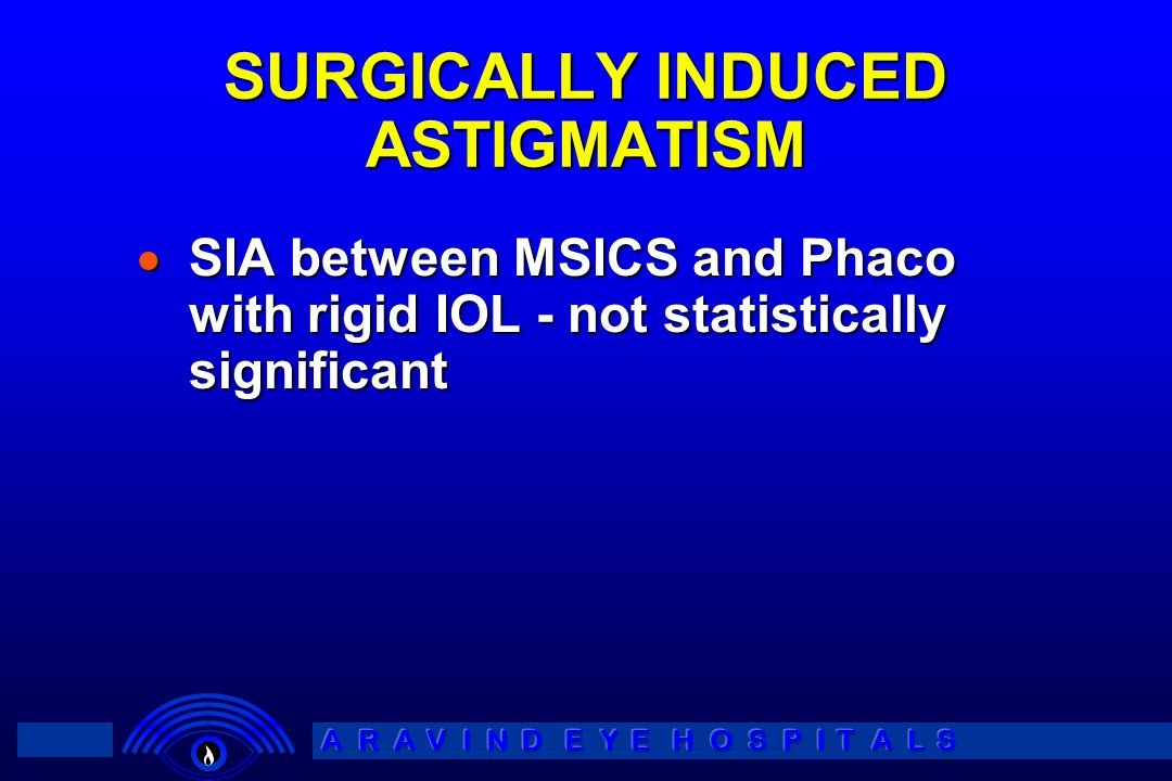 SURGICALLY INDUCED ASTIGMATISM SIA between MSICS and Phaco with rigid IOL - not statistically significant SIA between MSICS and Phaco with rigid IOL -