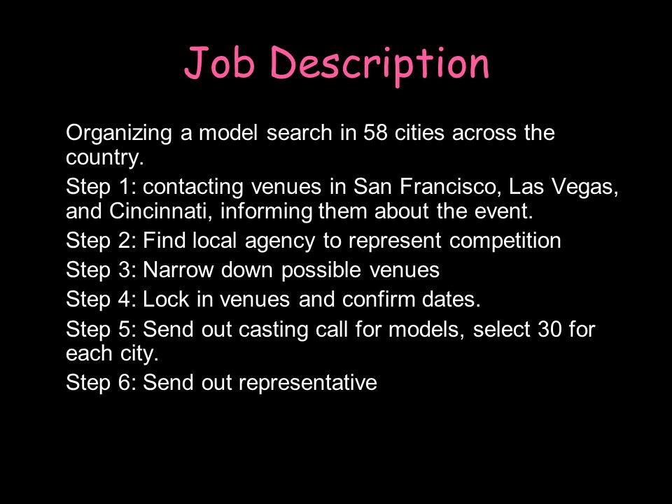 Job Description oOrganizing a model search in 58 cities across the country.