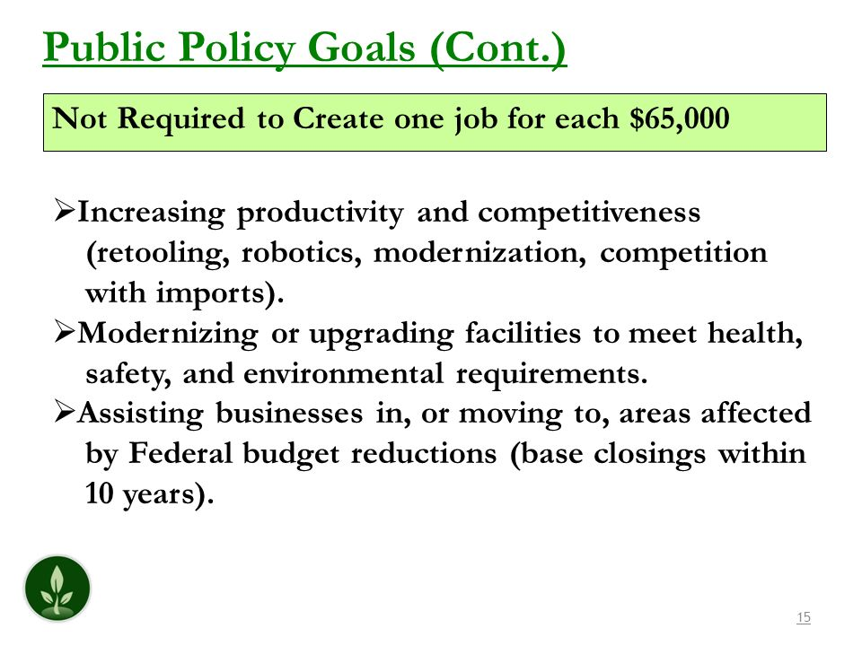 15 Public Policy Goals (Cont.) Increasing productivity and competitiveness (retooling, robotics, modernization, competition with imports). Modernizing