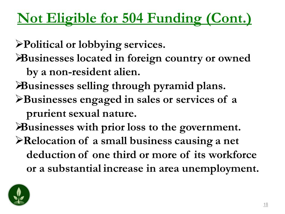 18 Not Eligible for 504 Funding (Cont.) Political or lobbying services. Businesses located in foreign country or owned by a non-resident alien. Busine