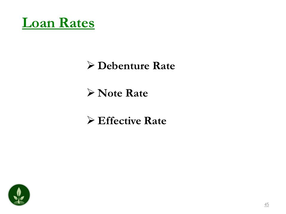 45 Loan Rates Debenture Rate Note Rate Effective Rate