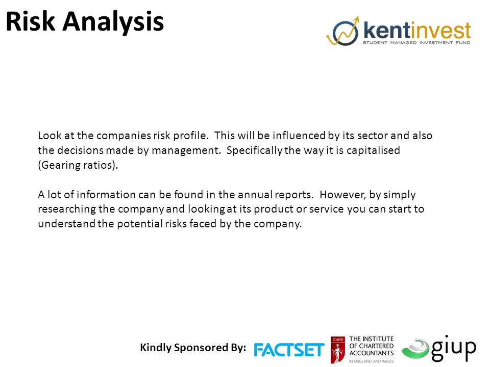 Kindly Sponsored By: Risk Analysis Look at the companies risk profile.
