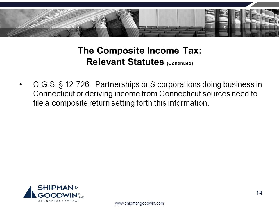 www.shipmangoodwin.com 14 The Composite Income Tax: Relevant Statutes (Continued) C.G.S. § 12-726 Partnerships or S corporations doing business in Con