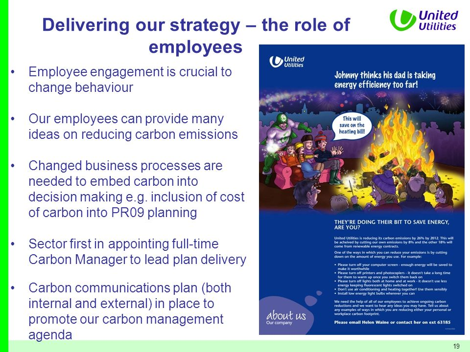 19 Delivering our strategy – the role of employees Employee engagement is crucial to change behaviour Our employees can provide many ideas on reducing