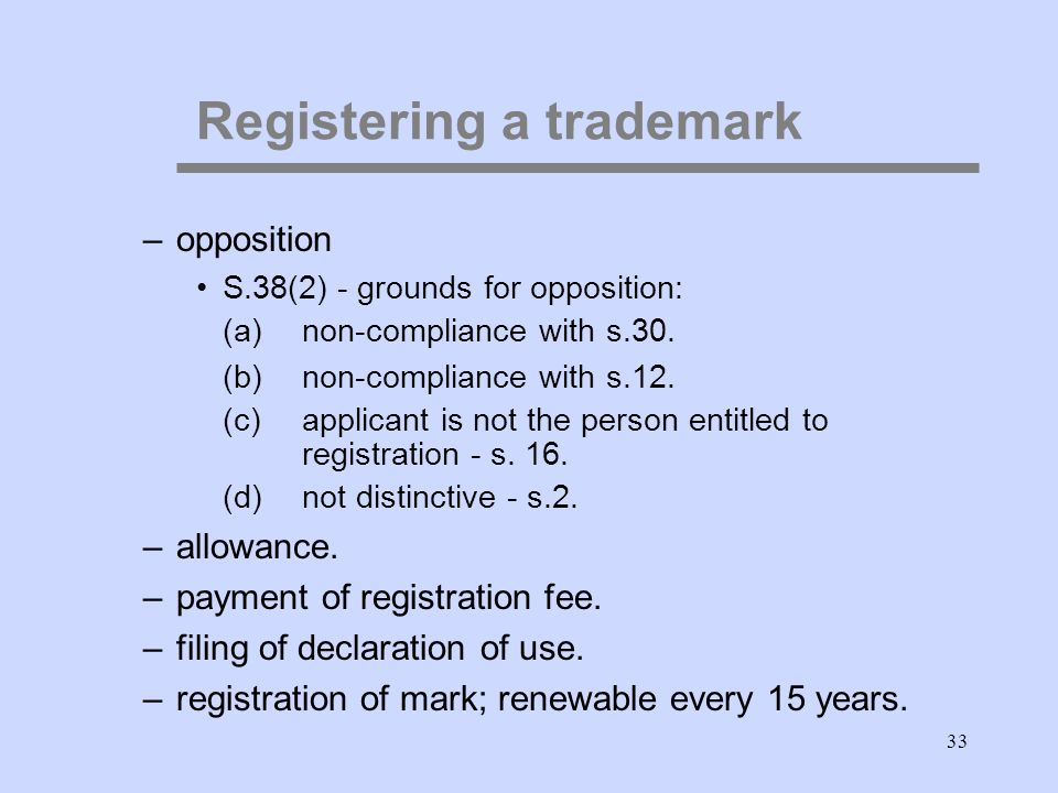 33 Registering a trademark –opposition S.38(2) - grounds for opposition: (a)non-compliance with s.30.