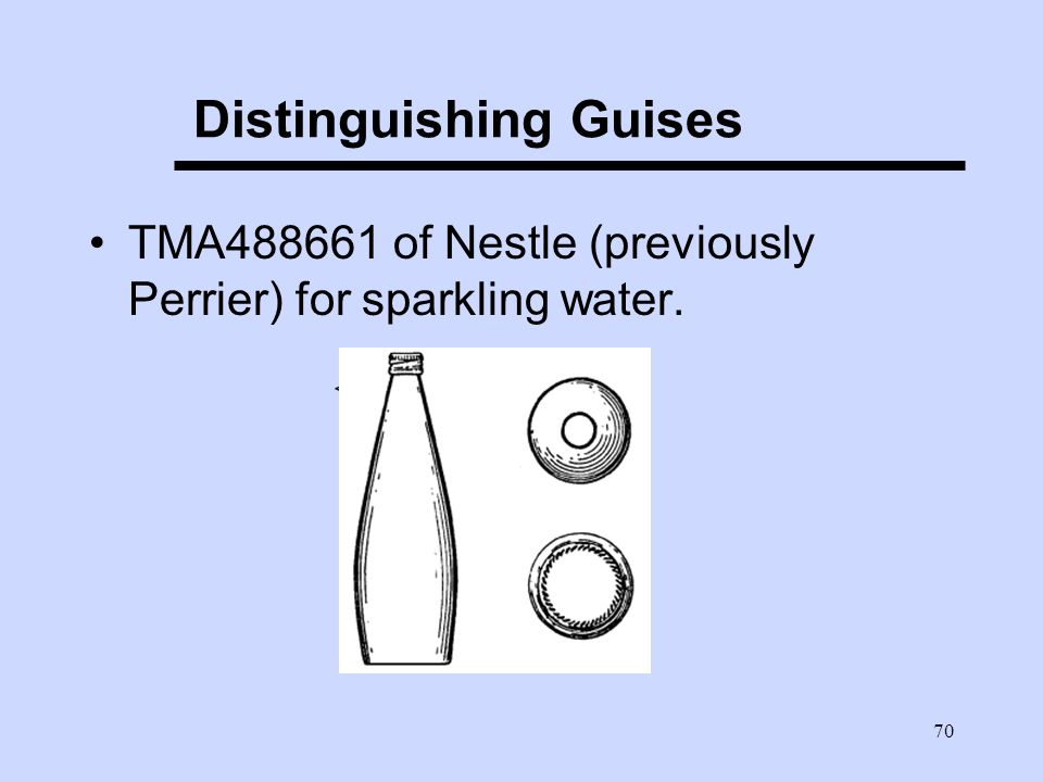 70 Distinguishing Guises TMA488661 of Nestle (previously Perrier) for sparkling water. <>