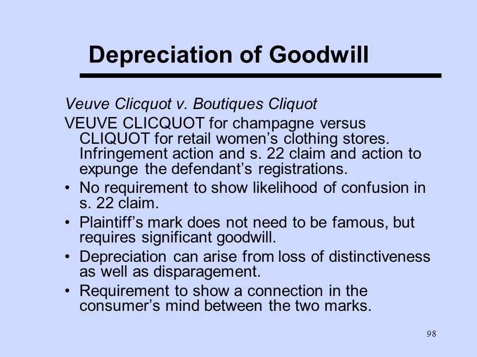 98 Depreciation of Goodwill Veuve Clicquot v.
