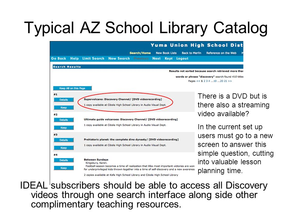 Typical AZ School Library Catalog IDEAL subscribers should be able to access all Discovery videos through one search interface along side other complimentary teaching resources.