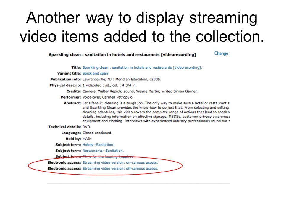 Another way to display streaming video items added to the collection.
