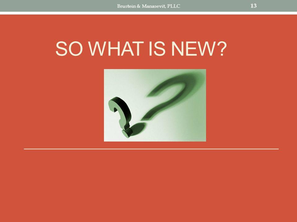 SO WHAT IS NEW? 13 Brustein & Manasevit, PLLC