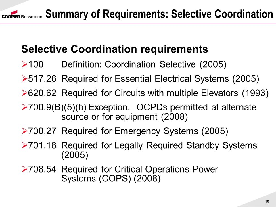 10 Summary of Requirements: Selective Coordination Selective Coordination requirements 100Definition: Coordination Selective (2005) 517.26 Required fo