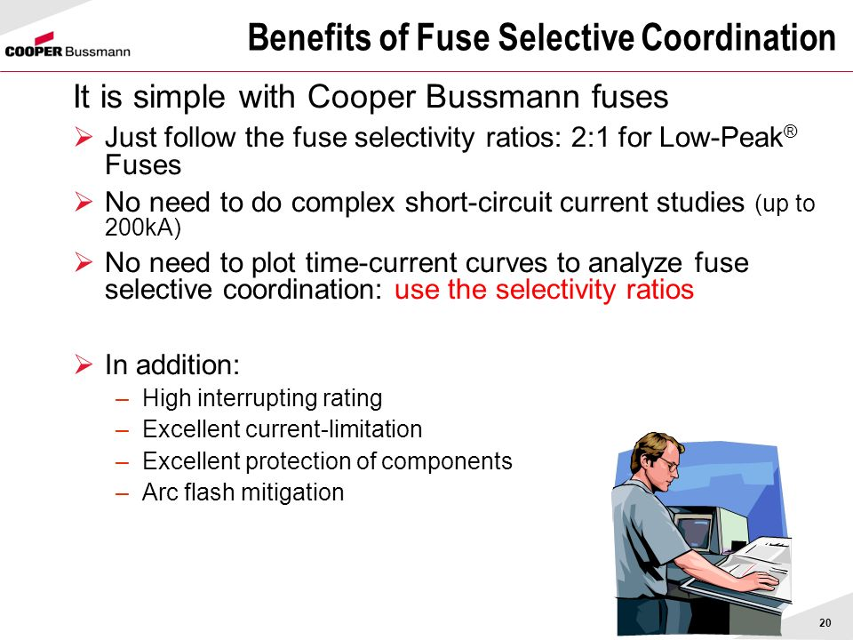 20 Benefits of Fuse Selective Coordination It is simple with Cooper Bussmann fuses Just follow the fuse selectivity ratios: 2:1 for Low-Peak ® Fuses N