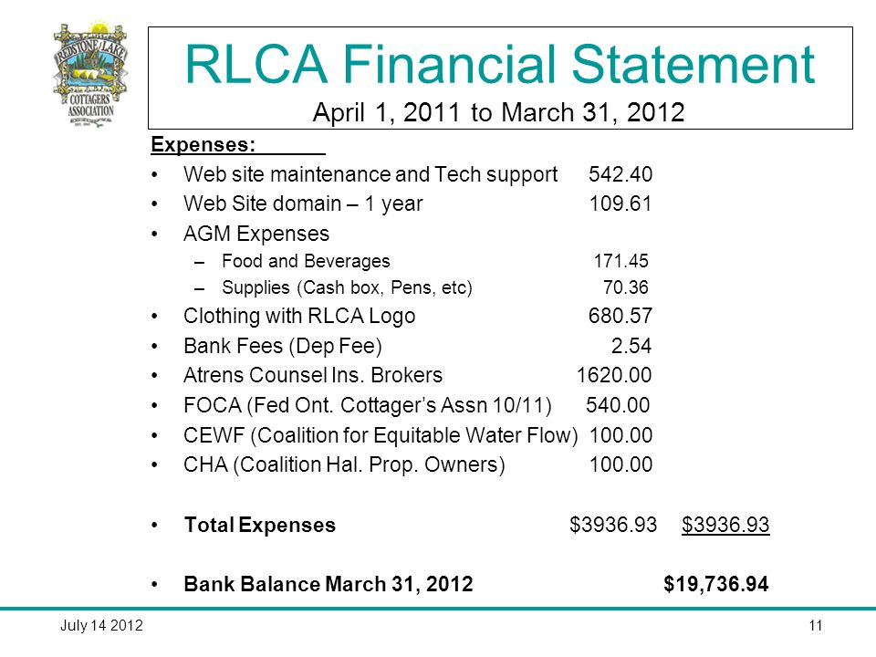 July 14 201211 RLCA Financial Statement April 1, 2011 to March 31, 2012 Expenses: Web site maintenance and Tech support 542.40 Web Site domain – 1 year109.61 AGM Expenses –Food and Beverages 171.45 –Supplies (Cash box, Pens, etc) 70.36 Clothing with RLCA Logo680.57 Bank Fees (Dep Fee) 2.54 Atrens Counsel Ins.