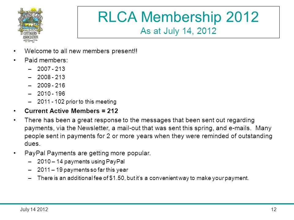 July RLCA Membership 2012 As at July 14, 2012 Welcome to all new members present!.