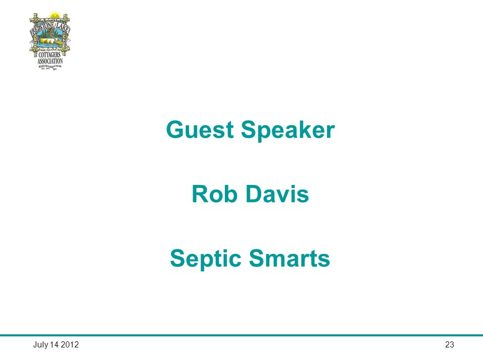 July Guest Speaker Rob Davis Septic Smarts