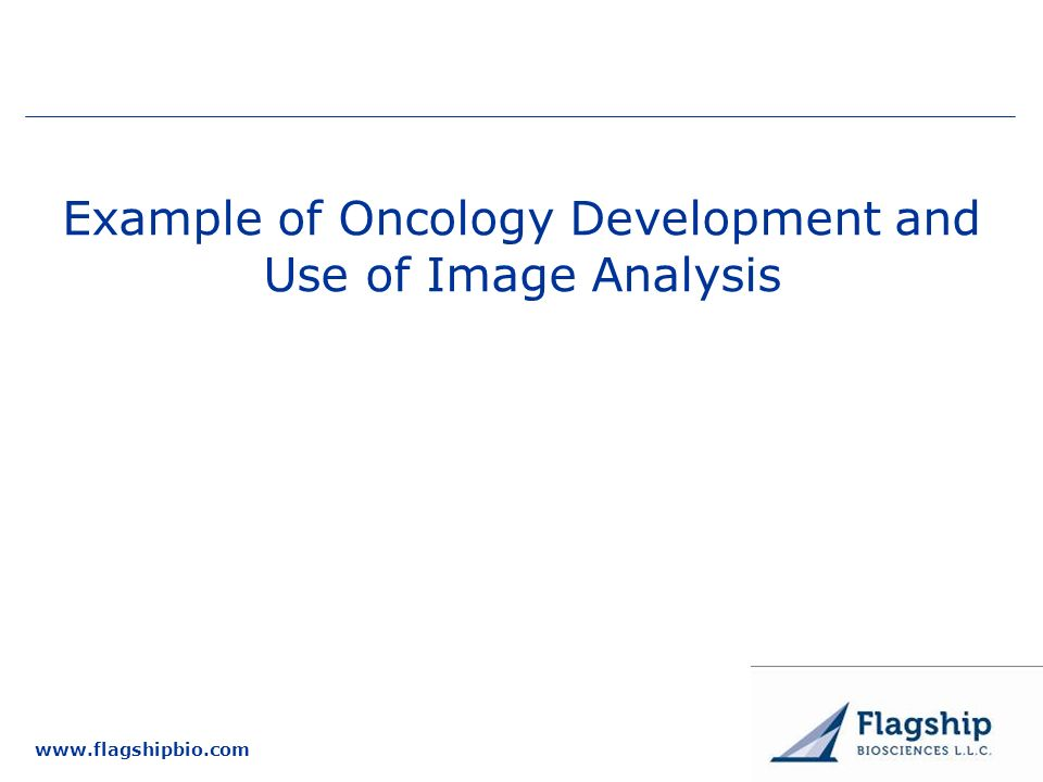 www.flagshipbio.com Example of Oncology Development and Use of Image Analysis