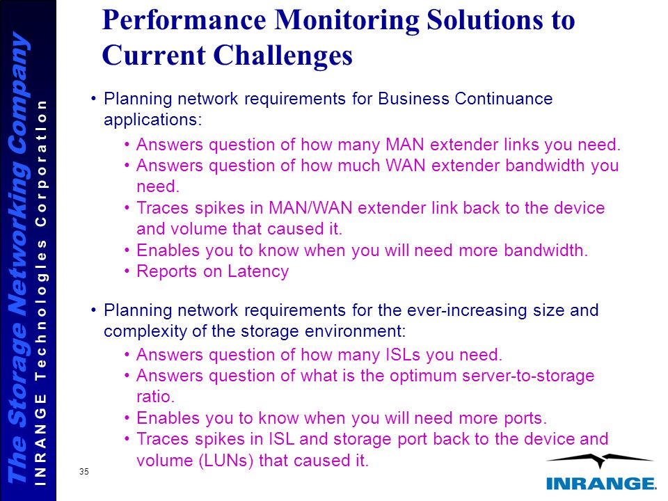 The Storage Networking Company I N R A N G E T e c h n o l o g I e s C o r p o r a t I o n 35 Performance Monitoring Solutions to Current Challenges Planning network requirements for Business Continuance applications: Planning network requirements for the ever-increasing size and complexity of the storage environment: Answers question of how many MAN extender links you need.