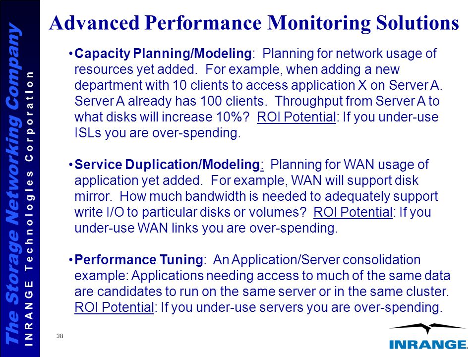 The Storage Networking Company I N R A N G E T e c h n o l o g I e s C o r p o r a t I o n 38 Advanced Performance Monitoring Solutions Capacity Planning/Modeling: Planning for network usage of resources yet added.