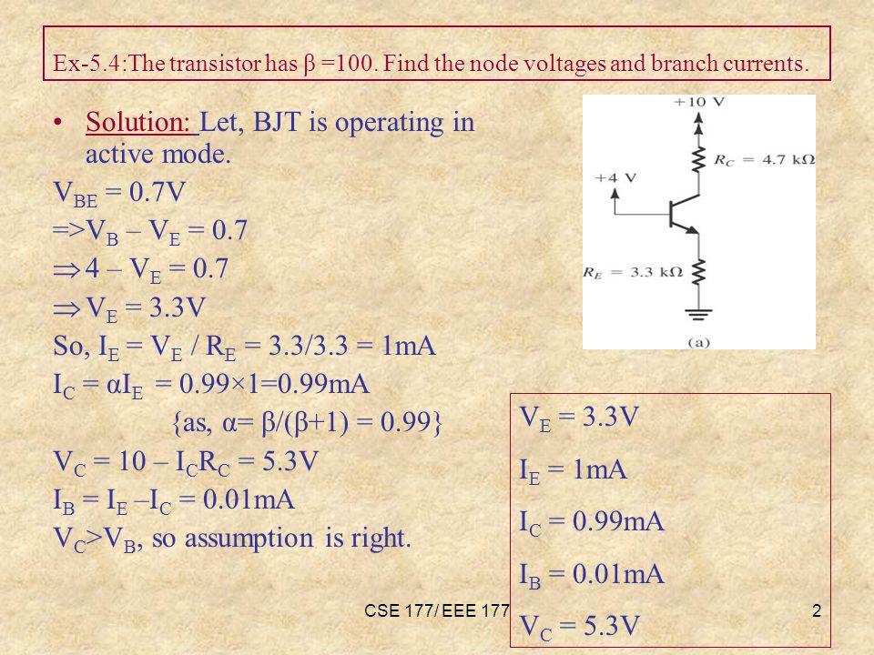 CSE 177/ EEE 1773 Ex-5.5:The transistor has β =50.
