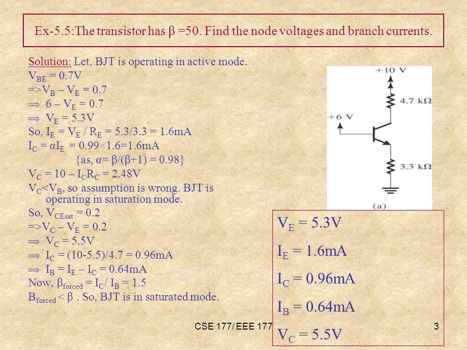 CSE 177/ EEE 1774 Ex-5.7:The transistor has β =100.