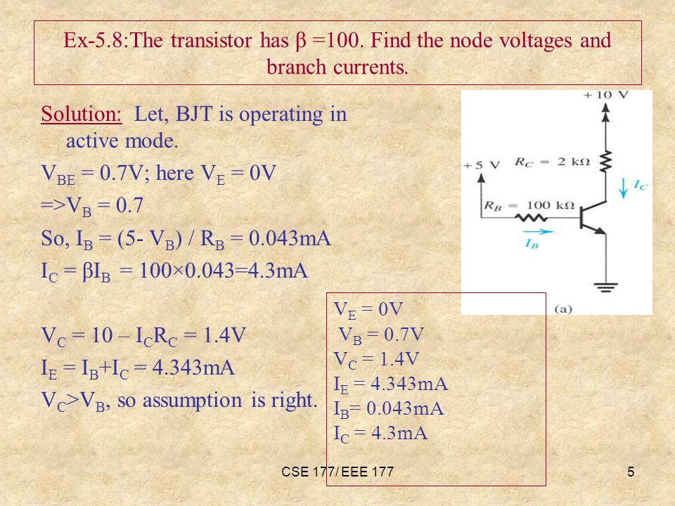 CSE 177/ EEE 1775 Ex-5.8:The transistor has β =100.